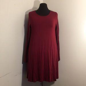 mittoshop Dresses - MITTOSHOP Burgundy Long Sleeve Knit Trapeze Dress